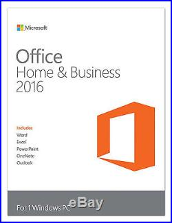 Brand New Microsoft Office 2016 Home and Business Windows PC Key Card SEALED