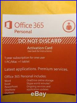 LOT OF 3 Microsoft Office 365 Personal 1 Year Subscription of Latest MS OFFICE