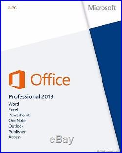 Microsoft Office 2013 Professional 3 Pc Retail Sealed