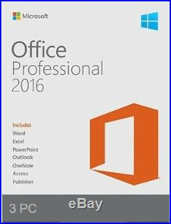 Microsoft Office 2016 Professional Retail Sealed 3-PC