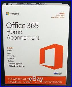 Microsoft Office 365 Home (2016) Vollversion Box 5 PC/Mac + 5 Tablets 32/64 Abo