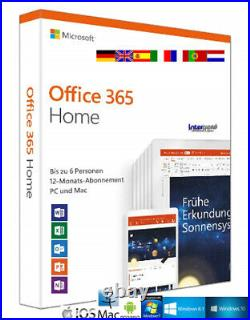 Microsoft Office 365 Home (2019) Vollversion 6 PC PC/Mac/Android Download NEU