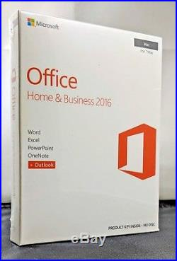 Microsoft Office Home & Business 2016 for Mac 1 User/1 Mac NewithSealed in Box