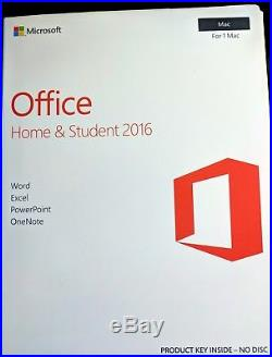 Microsoft Office Home & Student 2016 For 1 Mac PowerPoint Excel Word One Note