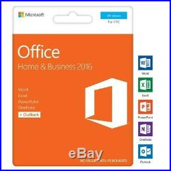 Microsoft Office Home and Business 2016 Product Key Card Factory Sealed
