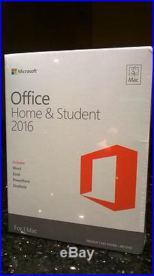 Microsoft Office Home and & Student 2016 for 1 Mac GZA-00666 HJ9H2LL/A RetailBox