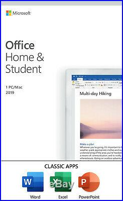 Microsoft Office Home and Student 2019 Windows/Mac 1 License CARD