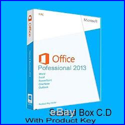 Microsoft Office Professional 2013 Sealed box Pack DVD key in box by post