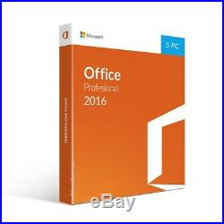 Microsoft Office Professional 2016 (5 Pc) Retail Sealed