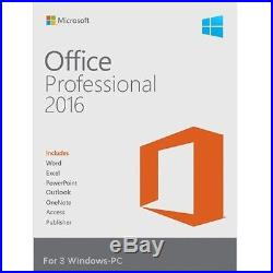 Microsoft Office Professional 2016 Suite Retail Sealed 3 PC