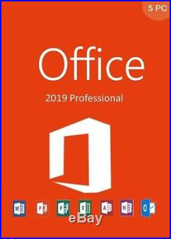 Microsoft Office Professional 2019 Suite Retail Sealed 5 Pc
