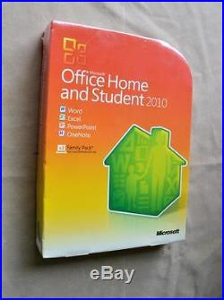 NEW Microsoft Office 2010 Home & Student Full Retail Family Pack 3Pc 79G-02144