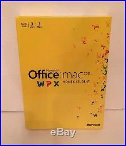 NEW Microsoft Office for Mac Home and Student 2011 (3 Users / 3 Macs) Sealed